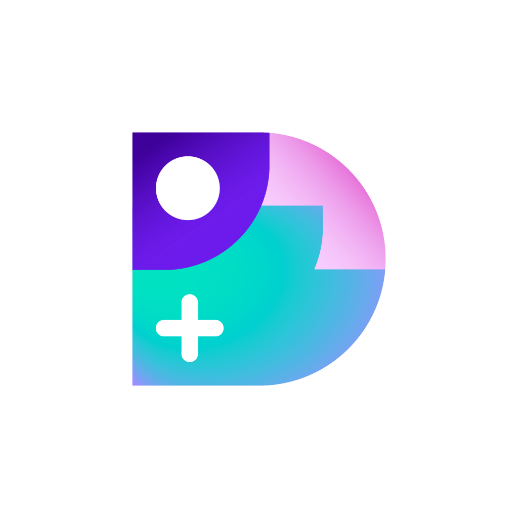 A purple pink and blue logo showing a D, Circle and a cross