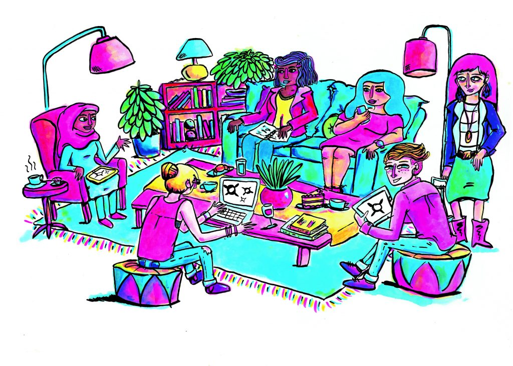 colourful illustration of six feminist women gathering to talk and work