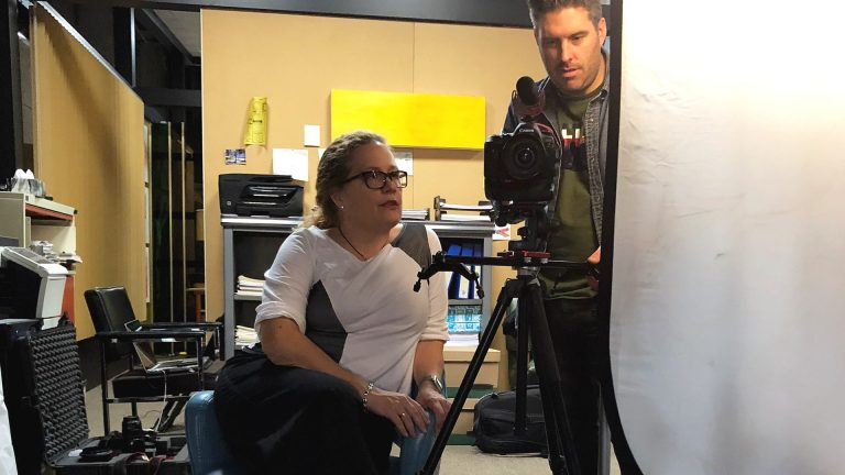 Deb filming interviews on set in Montreal with videographer Eric Myre (Photo provided)