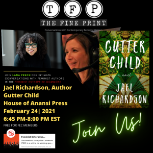 Image of an ad for The Fine Print Show featuring Gutter Girl by Jael Richardson