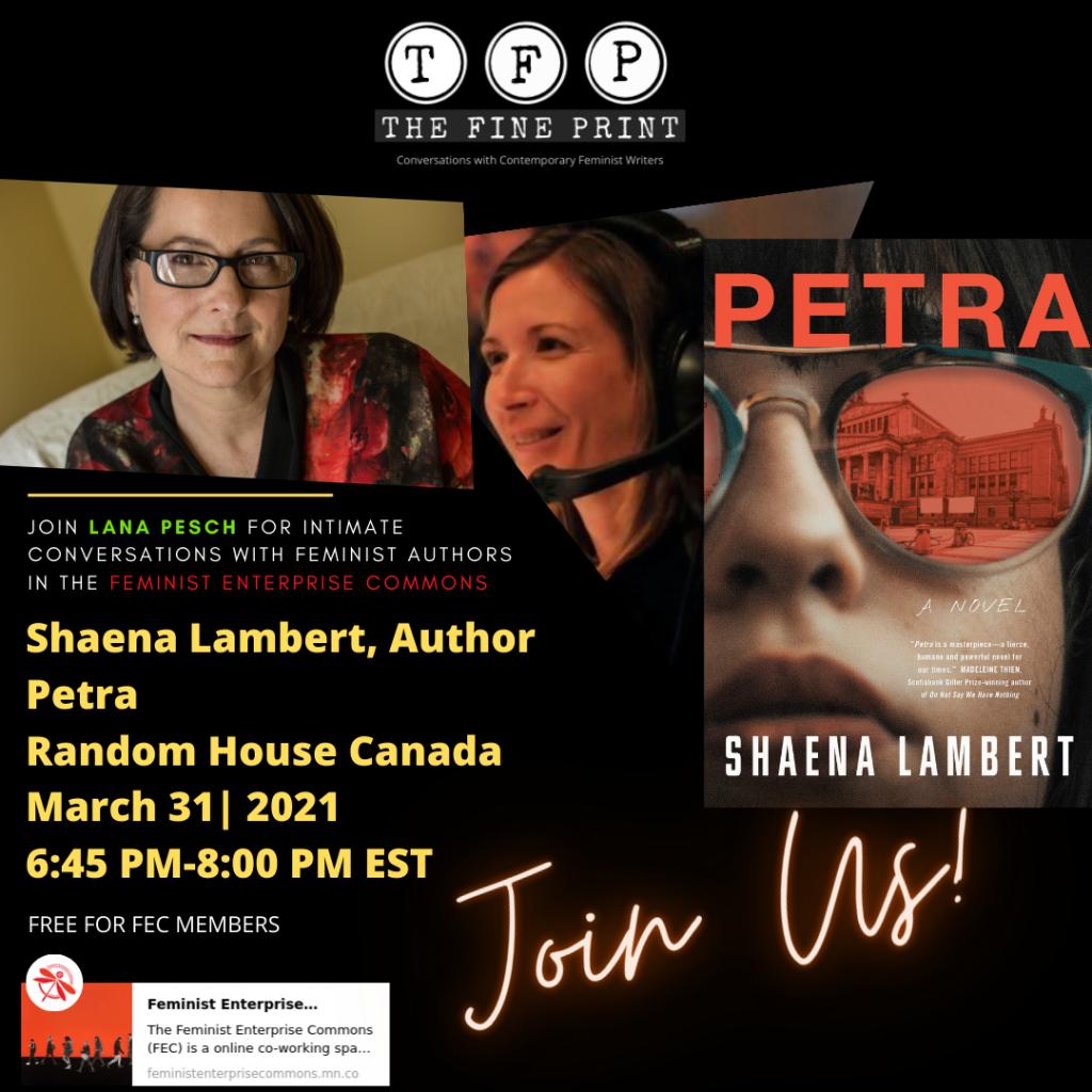 The Fine Print Ad for Shaena Lambert's new book, Petra