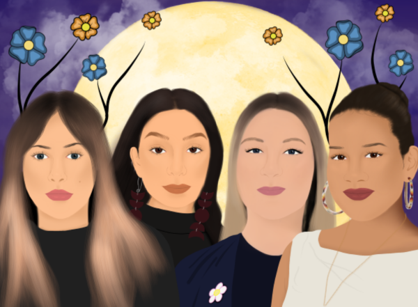 Illustration of four indigenous women who co-wrote the article