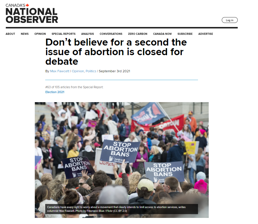 Article from the National Observer about the anti abortion debate in Canada after Texas.