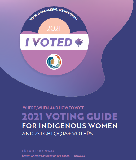 purple and pink image as cover for 2021 Voting Guide